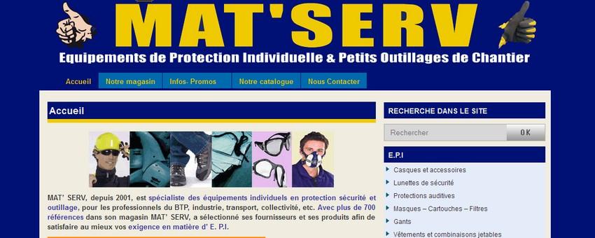 Création du site Mat' Serv,  Equipement en Protection Individuelle