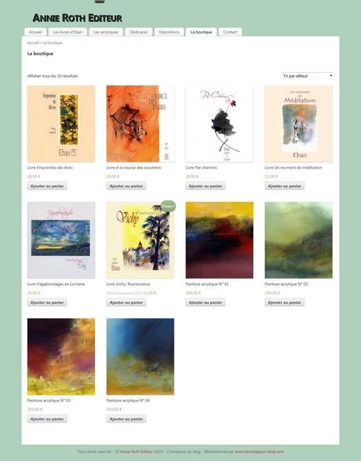 création boutique en ligne  Annie Roth