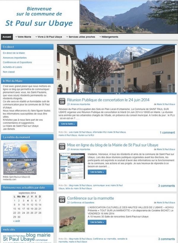 Création d'un blog pour la mairie de St Paul sur Ubaye