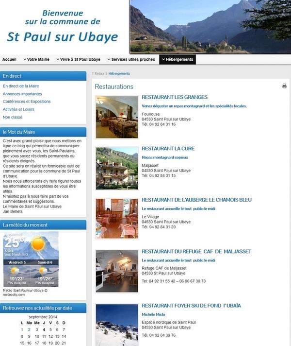 création site  Mairie de St Paul sur Ubaye
