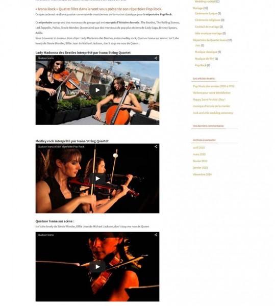 création blog Quartet musique  IVANA