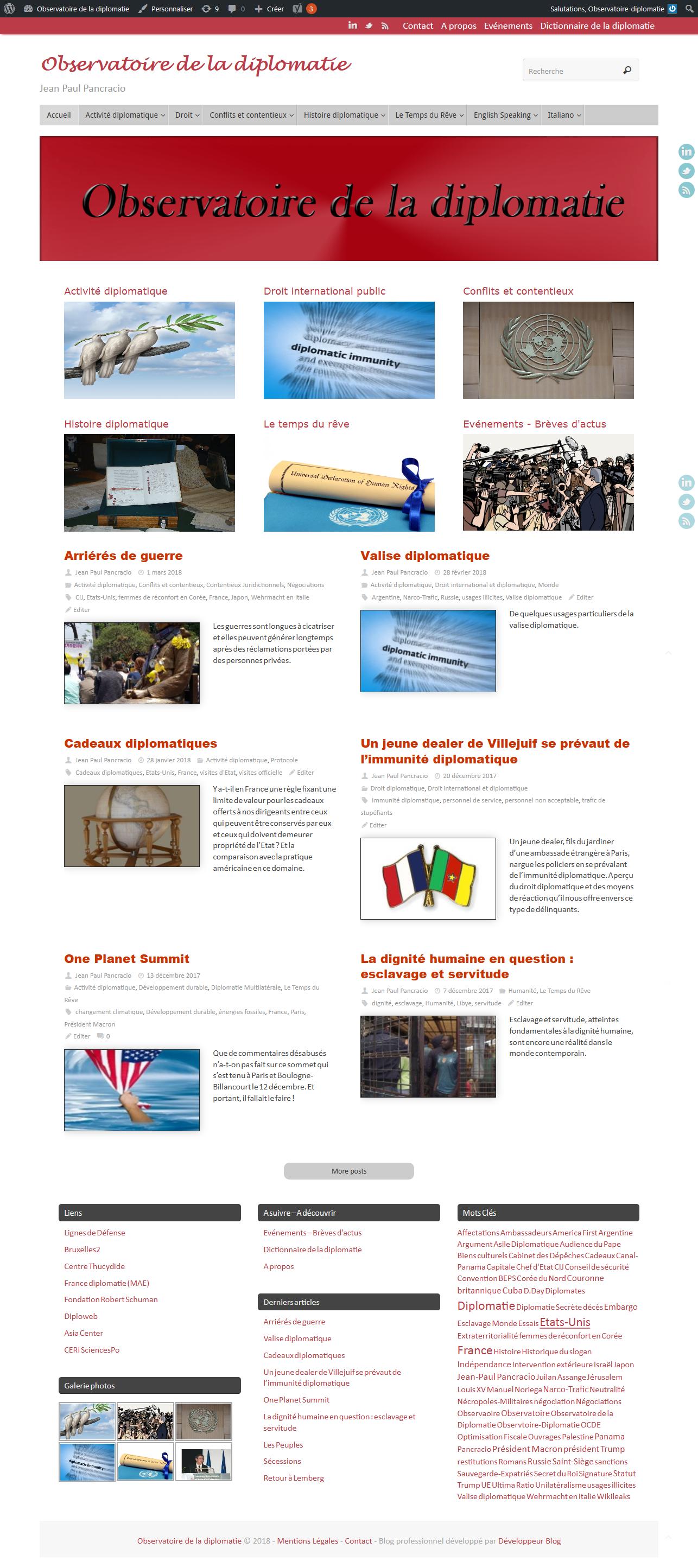 Observatoire de la diplomatie, blog de Jean Paul Pancracio