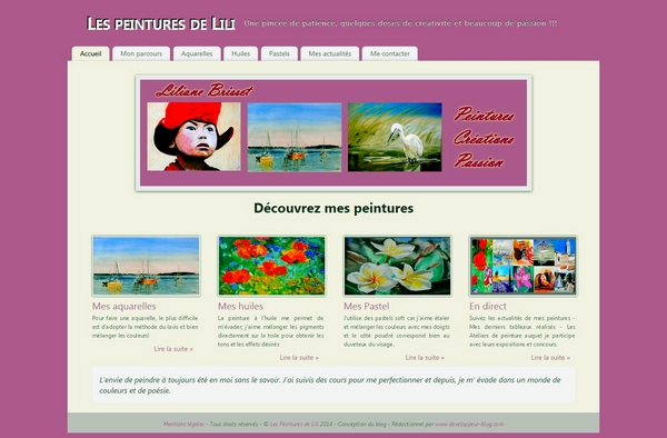cr ation du site pour l artiste peintre lili d veloppeur blog entreprise agence communication web. Black Bedroom Furniture Sets. Home Design Ideas