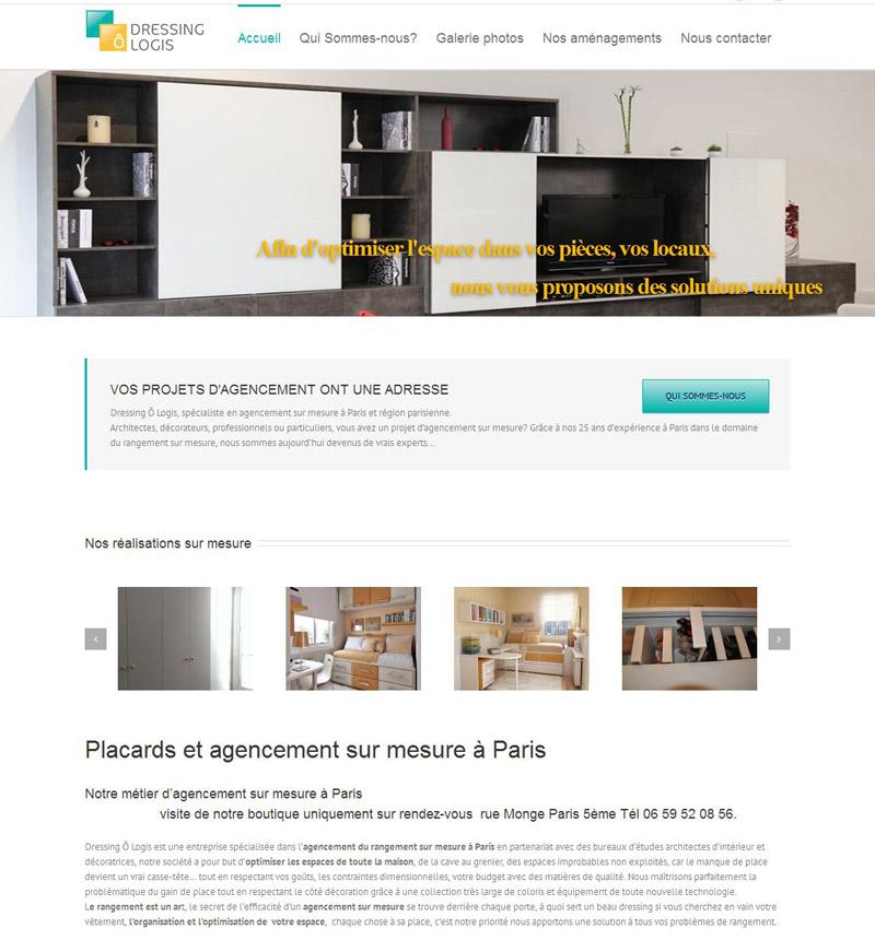Création d'un site de communication pour agencement de placard Paris