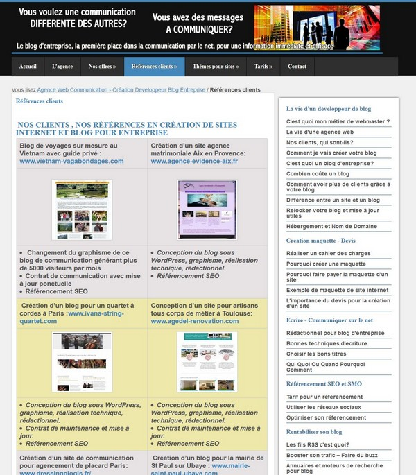 Création de site et blog d' entreprise artisan, entreprise, commerce